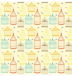 Bird cages pattern vector image