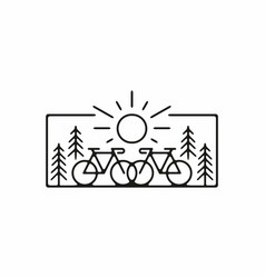 Black line art bicycle and pine trees vector