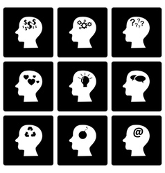 Black thoughts icon set vector