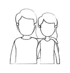 Blurred silhouette cartoon faceless half body vector