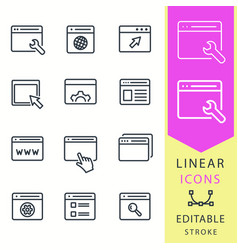 Browser - line icon set editable stroke vector