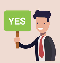 Businessman or manage keep a sign in hands vector