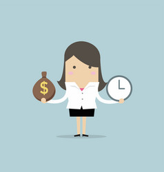 businesswoman has money bag and clock vector image