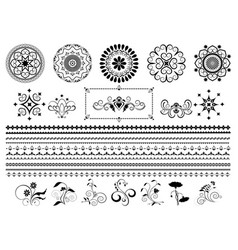 calligraphy ornaments and border on white vector image