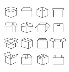 carton boxes icon set vector image