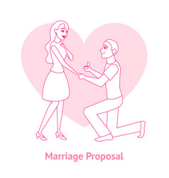 cartoon offer of marriage man and woman card vector image