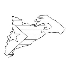 Catalunya flag and country outline with hand icon vector