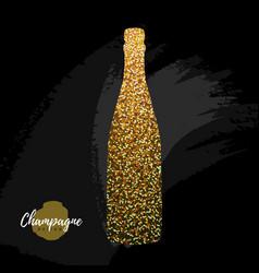 champagne bottle icon golden sparkle vector image