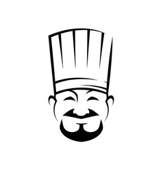 Cheerful chef line art vector