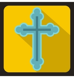 Christian cross icon flat style vector image