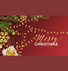 christmas banner realistic sparkling garland vector image