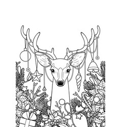 christmas deer greeting card vector image