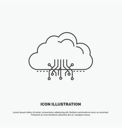 cloud computing data hosting network icon line vector image