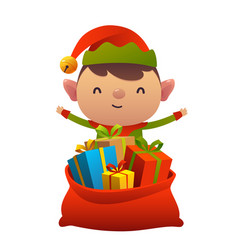 Cute christmas elf behind toy bag with gifts on vector