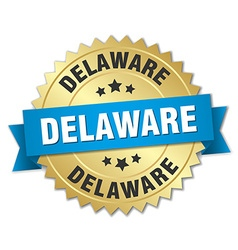 Delaware round golden badge with blue ribbon vector