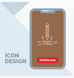 design pen graphic draw line icon in mobile for vector image