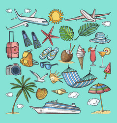 different hand drawn coloring summer icons set vector image