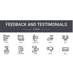 Feedback and testimonials concept line icons set vector