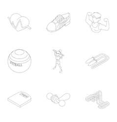 Fitness icons set outline style vector