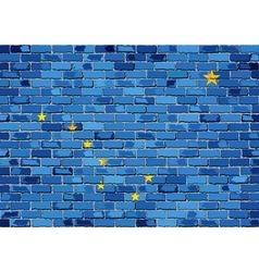 Flag of Alaska on a brick wall vector