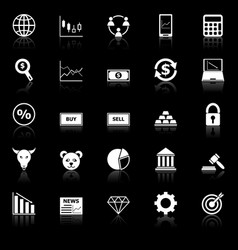 Forex icons with reflect on black background vector