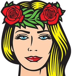 Girl with roses in hair vector image vector image