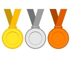 Gold silver and bronze medals for the winners of vector image