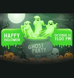 halloween ghosts pumpkins skull cat on cemetery vector image
