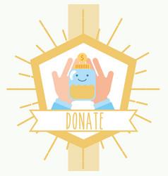 Hands holding jar coins money retro emblem charity vector