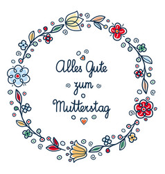 happy mothers day greeting card in deutsche vector image