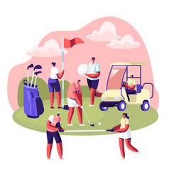 happy people on golf field summer relaxing vector image