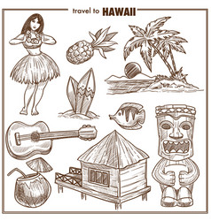 hawaii travel famous symbols sketch vector image