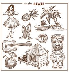 Hawaii travel famous symbols sketch vector