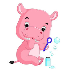 Hippo playing bubble water vector