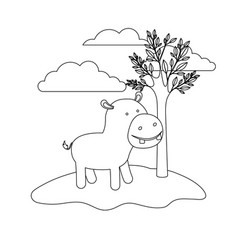 hippopotamus cartoon in outdoor scene with trees vector image