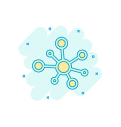 hub network connection sign icon in comic style vector image