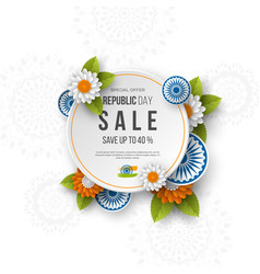 indian republic day sale round banner vector image