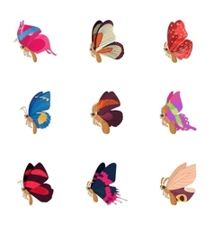 Insects butterflies icons set cartoon style vector image