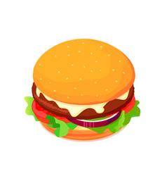 isometric cheeseburger with tomato vector image