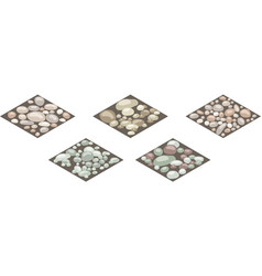 Isometric stone texture tiles set stones rocks vector