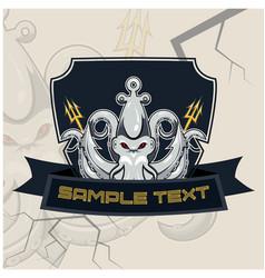 Kraken esport mascot badge design vector