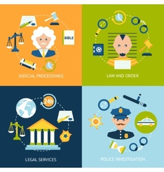 Law flat icons set vector