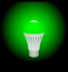 Led green economical light bulb glowing on a dark vector