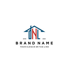 Letter dnl home roof logo design and business card vector