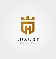 letter h creative logo type with crown symbol vector image