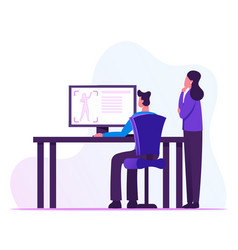 Male and female developers looking on computer vector