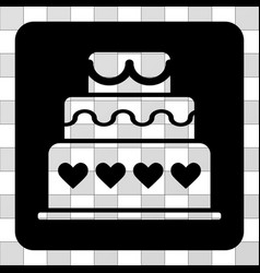 Marriage cake rounded square vector