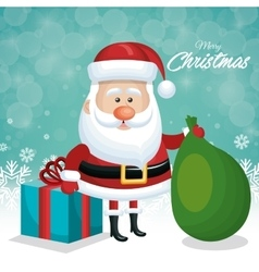 merry christmas card santa with gift and green bag vector image