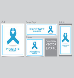 mock up realistic prostate cancer icon with blue vector image
