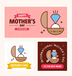 mothers day card with ring logo and pink theme vector image